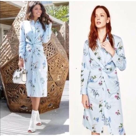 873e3079 Zara Dresses | Nwt Floral Striped Front Knot Shirt Dress | Poshmark